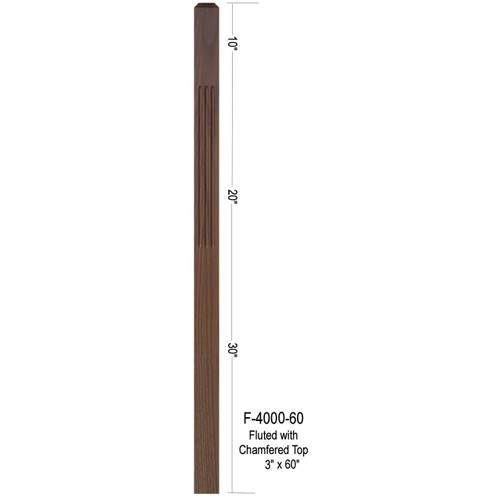 "F-4000-60 60"" Fluted 3"" Newel Post"