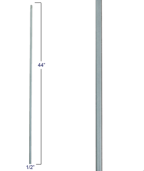 2555 Straight Bar Solid Wrought Iron Baluster, 12mm, Shown in Ash Gray