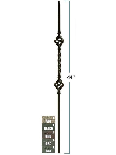 2853 Mega Double Basket Single Twist Tubular Steel Baluster, 3/4-inch (19mm)