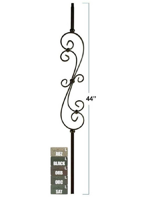 2881 Mega Skinny Scroll Tubular Steel Baluster, 3/4-Inch, 19mm