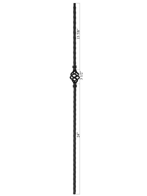 PC10/1 Hammered Single Basket 9/16-inch Iron Baluster