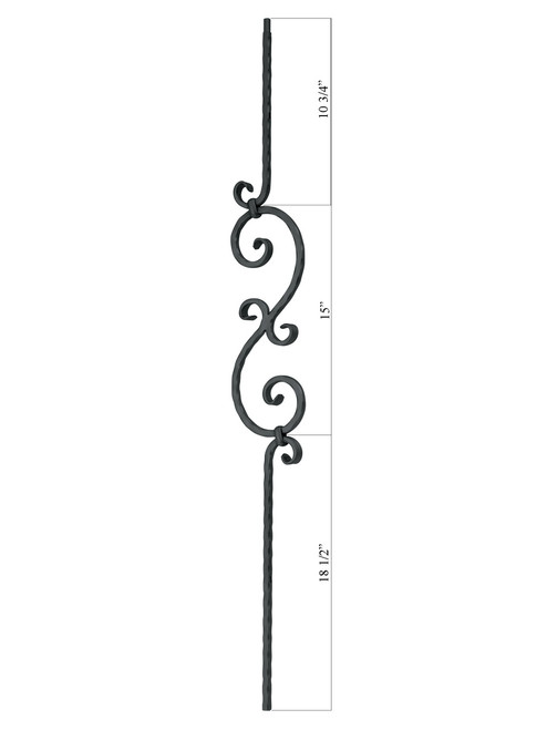 24 Scroll with Twist Design Diameter Indital PC30-2-0001 Powder Coated Wrought Iron Baluster for Stairs and Railings Classic Black 44 3//32 H x 5 15//64 W x 9//16 Sq