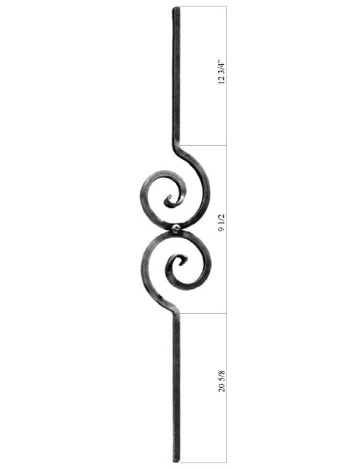PC50/1 Scroll Iron Baluster