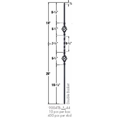 9004TB Double Basket Tubular Steel Baluster Dimensional Information