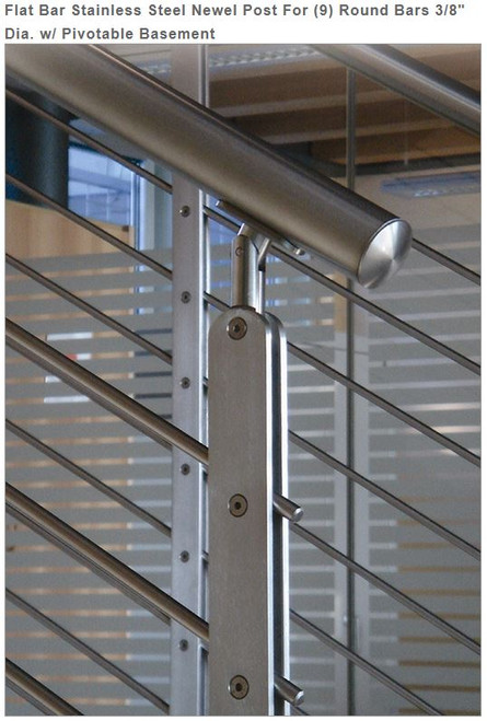 E00463 Flat Bar Stainless Steel Newel Post for 9 bars, 3/8""
