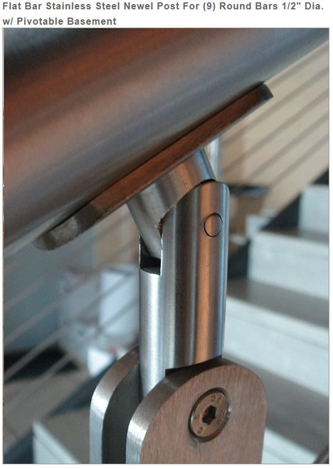 E00465 Flat Bar Stainless Steel Newel Post, 9 bars, 1/2""