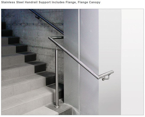 E022/S Stainless Steel Handrail Support, Flange Canopy