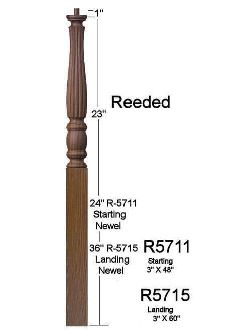 "R-5711 48"" Pin Top Reeded Utah Classic Starting Newel Post Dimensional Information"