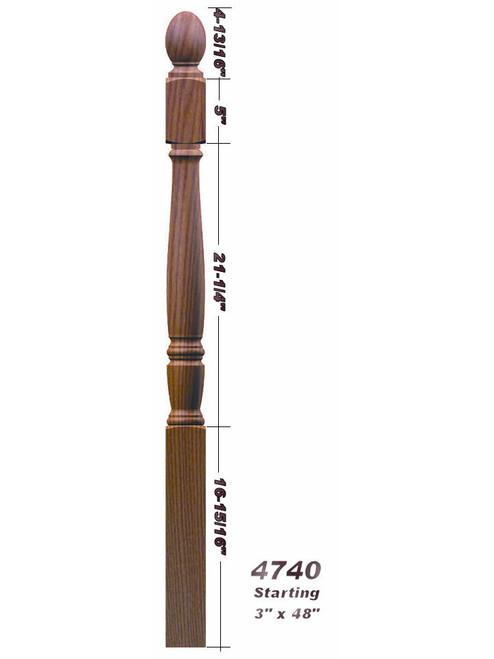 4742 Plain Ball Top Starting Georgia Newel Post