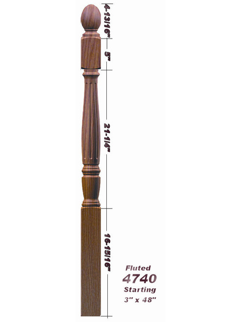 F-4740 Fluted Ball Top Starting Georgia Newel Post