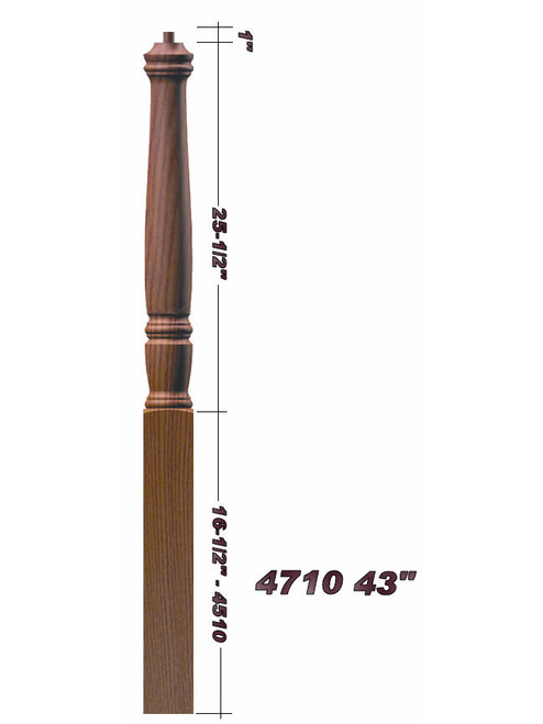 "4710 43"" Plain Pin Top Starting Georgia Newel Post Dimensional Information"
