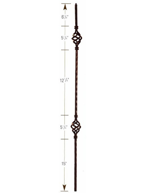 1002 Double Basket Hammered Iron Baluster