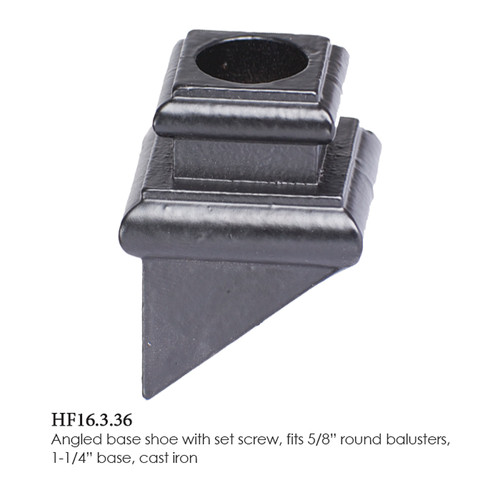"""HF16.3.36 5/8"""" Round Pitch Shoe with set screw for Round Balusters"""