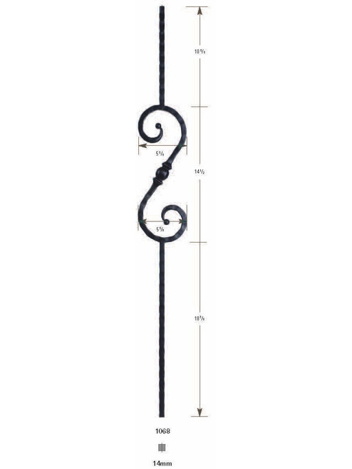 1068 S-Scroll Hammered Iron Baluster