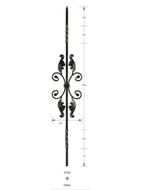 1113 Two Twist with Fancy Scrolls Iron Baluster