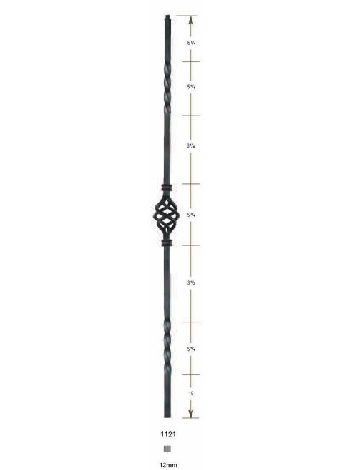 1121 Single Basket, Double Twist Iron Baluster