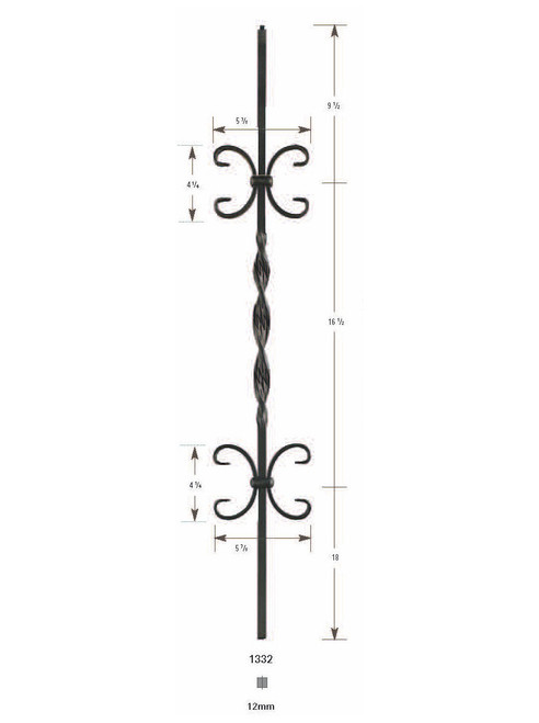 1332 Ribbon with Two Scrolls Iron Baluster