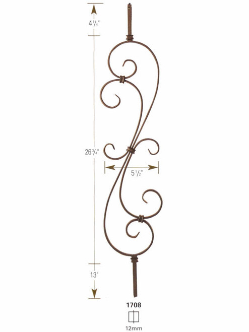 1708 S-Scroll Iron Baluster Dimensional Information