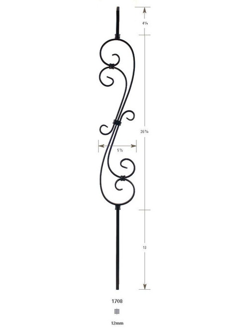 1708 S-Scroll Iron Baluster