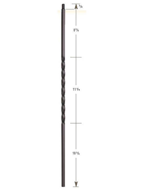"3101-30 30"" Tubular Steel Single Twist Knee Wall Baluster"