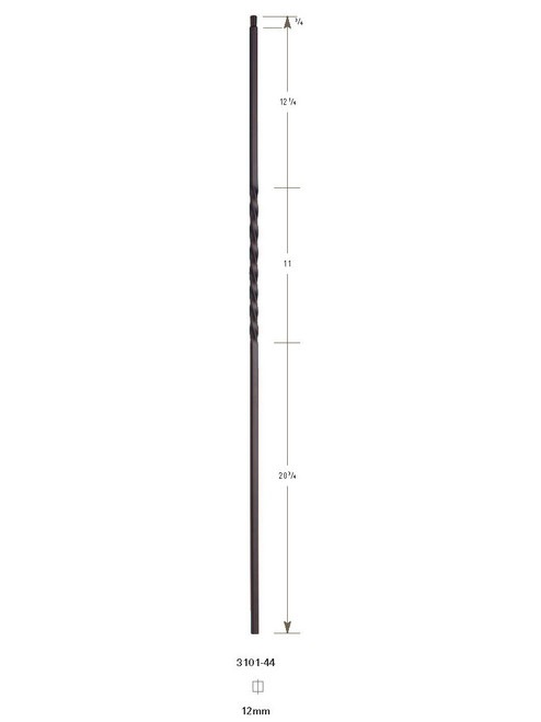 "3101-44 44"" Tubular Steel Single Twist Baluster"