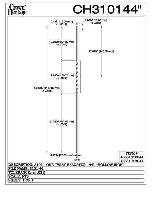"3101-44 44"" Tubular Steel Single Twist Baluster, CADD DRAWING"