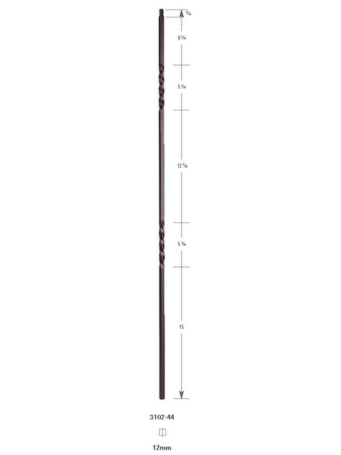 """3102-44 44"""" Tubular Steel Double Twist Baluster"""