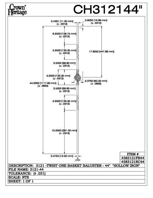 "3121-44 44"" Tubular Steel Single Basket Knee Wall Baluster, CADD DRAWING"