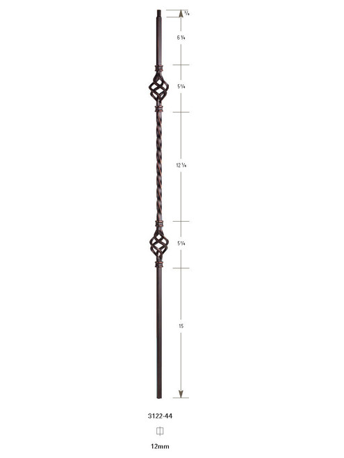 "3122-44 44"" Tubular Steel Double Basket Knee Wall Baluster"