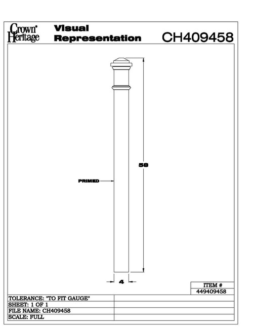 "4094 4"" Primed Box Newel CADD"