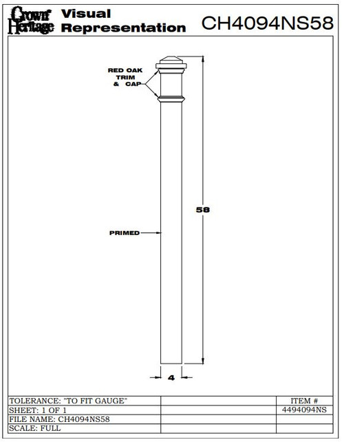 """4094-NS No Stain 4"""" Primed Box Newel, CADD  Drawing"""