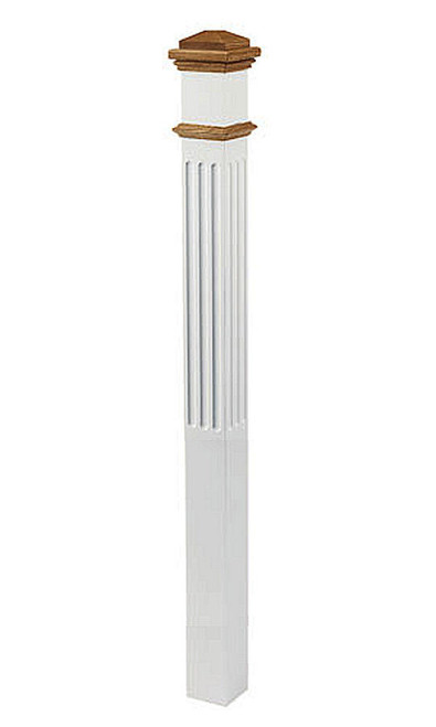 "4095-NSF No Stained, Fluted 5"" Primed Box Newel"