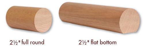 """2500 American Cherry or Alder 2-1/2"""" Round Handrail"""