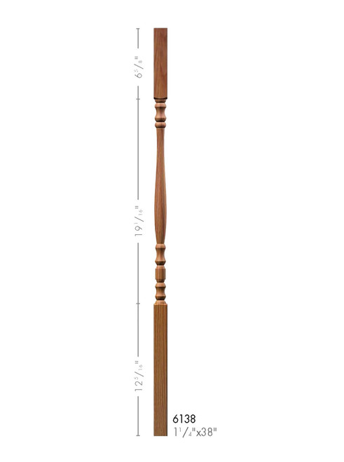 "6138 38"" Hampton Square Top Elegant Rise Baluster"