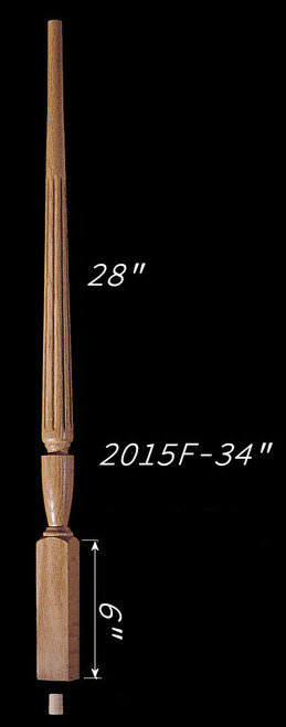 "C-2015F 34"" Fluted Carolina Baluster"