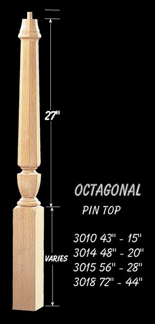 "C-3014O Octagon 48"" Universal Pin Top Newel Post"