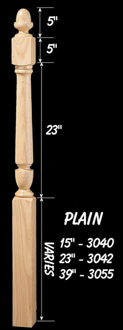 """C-3055 Plain 72"""" Winder Acorn Top Newel Post"""