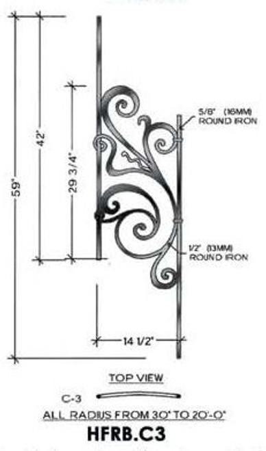 HFRB.C3 Rebecca Curved Rake Iron Panel