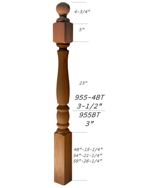 955BT-59 Ball Top Starting Bordeaux Newel Post