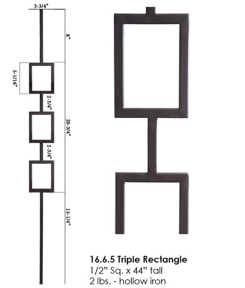 HF16.6.5 Triple Square Tubular Steel Baluster