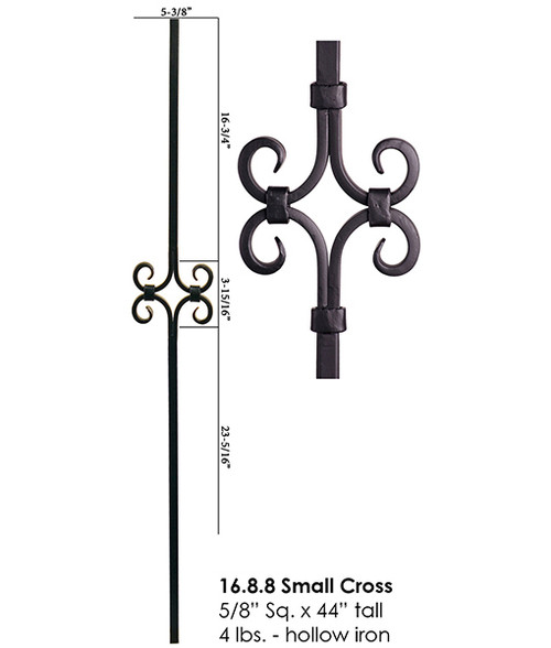 "HF16.8.8 Single Diamond 5/8"" Designer Tubular Steel Baluster"