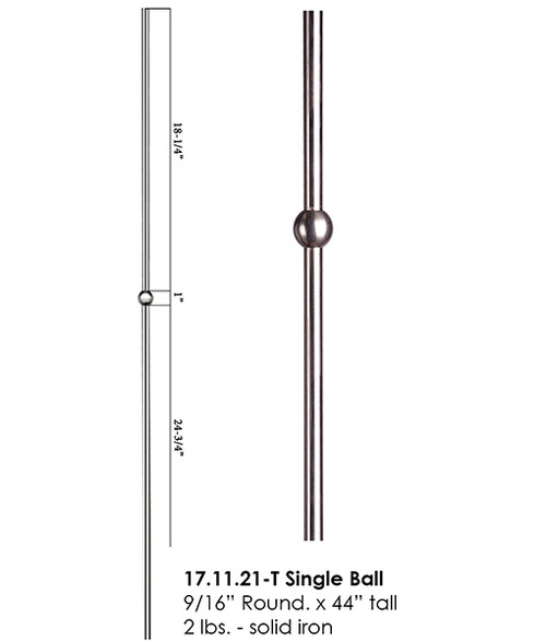 HF17.11.21-T Single Round Knuckle Stainless Steel Baluster, Tubular