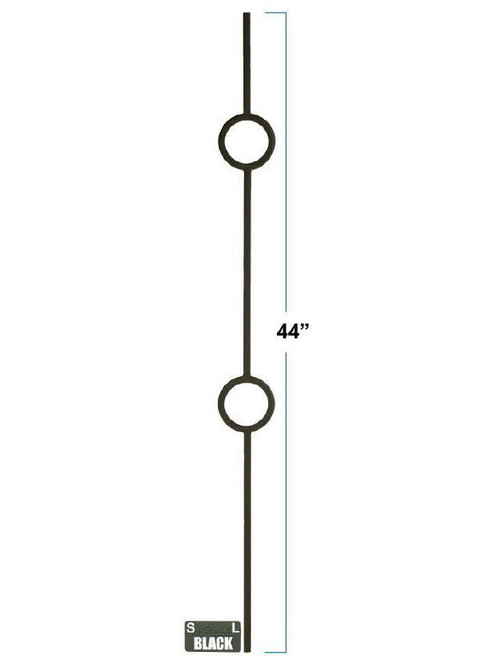 2931 Double Ring Designer Baluster, in solid iron or tubular steel, 12mm