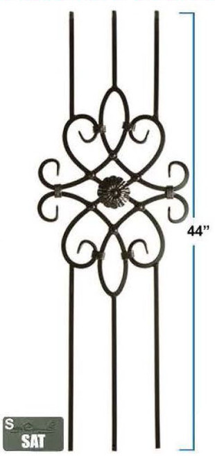 2491 Three-Legged Decorative Panel, Satin Black, 12mm Solid Iron