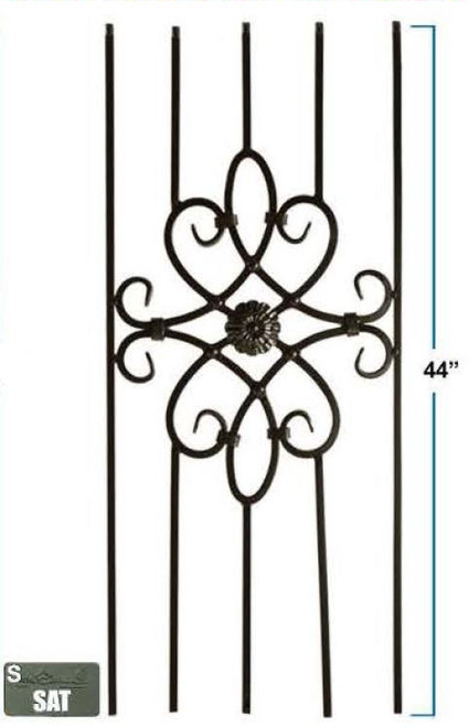 2492 Five-Legged Decorative Panel, 12mm Solid Wrought Iron, Satin Black Only