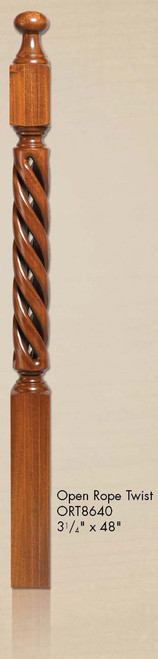 "ORT-8643 60"" Open Rope Twist Newel Post"
