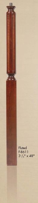 """F-8611 48"""" Fluted Pin Top Newel Post"""