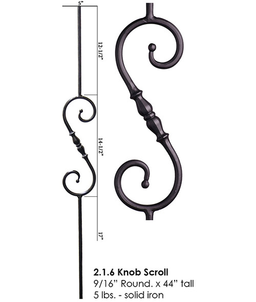 HF2.1.6 Tuscan S-Scroll with Knob Round Iron Baluster