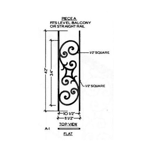 HFSE.A1 Seville Iron Baluster Panel for Level Balcony or Straight balustrade runs