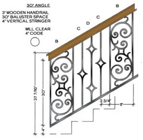 30-degree Angled stair with Seville Balustrade